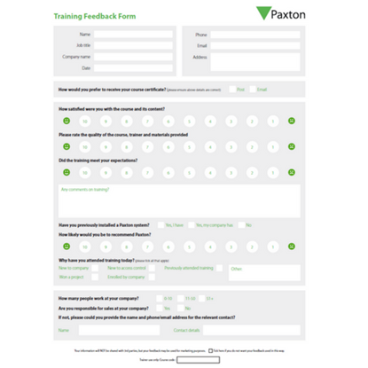 Picture of Paxton Dealer Training Feedback Forms (US Only)